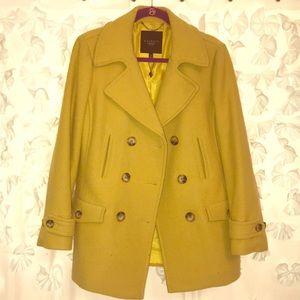 Talbots Petites Mustard Yellow Wool Pea Coat